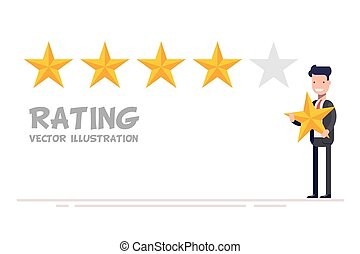 Feedback concept. Happy businessman hand giving five star...