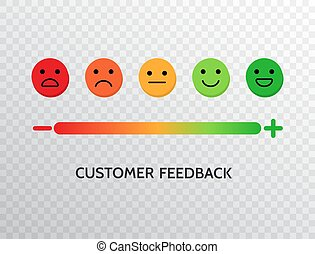 Feedback design with emotions scale background. Rating satisfaction concept. Set of feedback icons in form of emotions for mobile app and web. Excellent, good, normal, bad, awful. Vector illustration