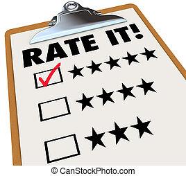 feedback, det, gennemgange, kurs, clipboard, stjerner