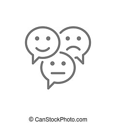 Feedback emoticon chats, positive, negative and neutral speech bubbles, comments line icon.