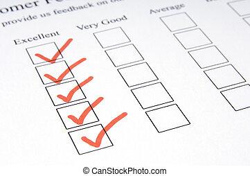 Feedback Form #1 - A close-up shot of a feedback form -...
