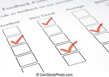 Feedback Form #3 - A macro shot of a feedback form showing...
