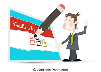 Feedback Form. Vector Feedback Icon with Business Man and Pencil on White Background.