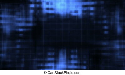 Feedback geometric glitch blue and black looping animated CG...