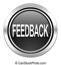 feedback icon, black chrome button