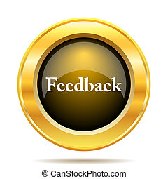 Feedback icon. Internet button on white background.