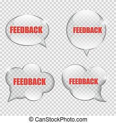 feedback, illustrazione, vetro, vettore, discorso, trasparenza, bolla