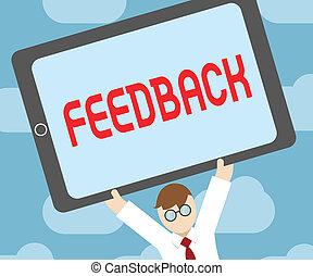 feedback., información, sobre, tarea, reacciones, texto, actuación, demonstratings, producto, señal, foto, conceptual, perforanalysisce