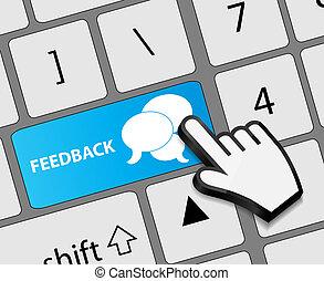 feedback, knap, illustration, hånd, kursor, vektor, klaviatur, mus