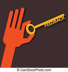 feedback, mano, chiave
