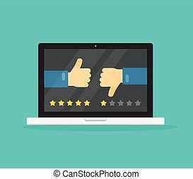Feedback online or review on computer laptop concept vector illustration, flat cartoon pc with voting hands thumbs gesture and reviews stars, idea of like or dislike symbols clipart