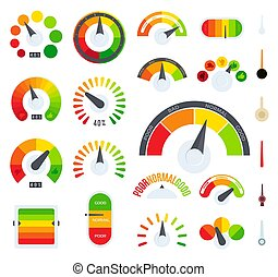 Feedback or rating scale representing various emotions and customers review. Evaluation level of business service or goods. Isolated colorful vector set of icons.