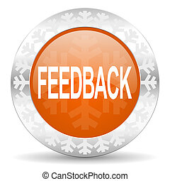 feedback orange icon, christmas button