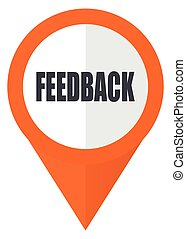 Feedback orange pointer vector icon in eps 10 isolated on white background.