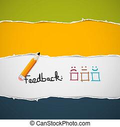feedback, paper., strappato, retro, fondo, pencil.