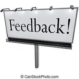 feedback, parola, su, tabellone, cercando, opinioni, comments, ingresso