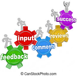 Feedback People Marching Up Gears Input to Success - People...