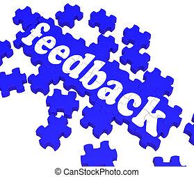 Feedback Puzzle Shows Satisfaction Surveys And Evaluations