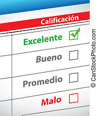 feedback selection concept in Spanish illustration design