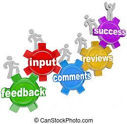 feedback, successo, persone, su, ingranaggi, ingresso,...