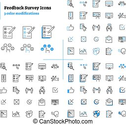 Feedback survey outline icons collection set vector illustration.
