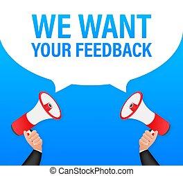 feedback., tenant main, nous, ton, vouloir, vecteur, toile, banner., design., porte voix, illustration., stockage