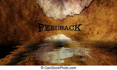 Feedback text reflecting in water