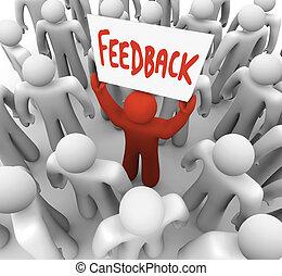 feedback, underskriv mand hold, ind, flok, deler, anskuelsen