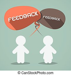 Feedback Vector Flat Design Symbol with Paper People