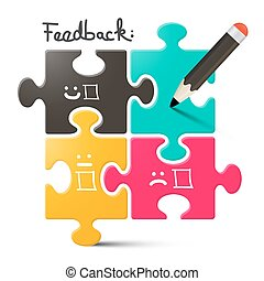 Feedback Vector Illustration. Feedback Puzzle with Pencil.