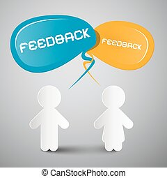 Feedback Vector Illustration with Paper People