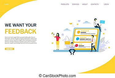 Feedback vector website template, web page and landing page design for website and mobile site development. Online review, customer relationship management concept.