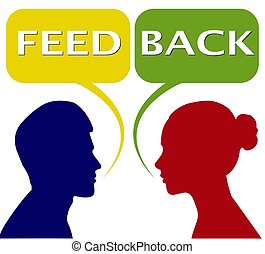 Feedback women and women, bubble for speech