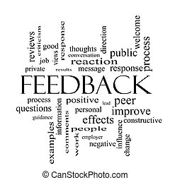 Feedback Word Cloud Concept in black and white