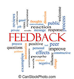 Feedback Word Cloud Concept with great terms such as results...