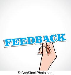 feedback word in hand