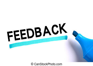 Feedback word with blue marker on white background.