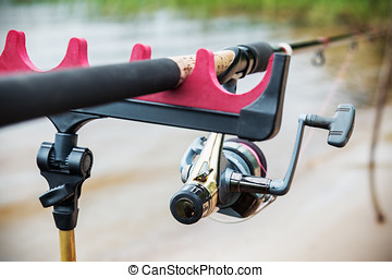 feeder fishing rod on the stand