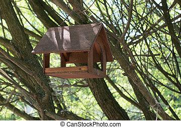 feeders, para, pássaros, cidade, parque