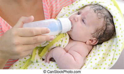 Feeding Baby. Newborn Baby