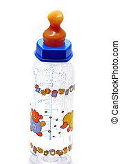Feeding bottle for children on white