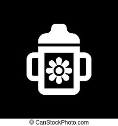 Feeding cup icon. design. Baby bottle, Feeding cup symbol. web. graphic. AI. app. logo. object. flat. image. sign. eps. art. picture - stock