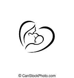 feeding vector sign. Mother holding newborn baby in arms, ...