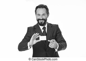 Feel free to contact me. Businessman happy hold plastic blank white card. Business man carries credit card. Banking services for business. Custom design making your card unique. Business card design