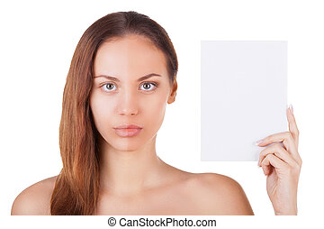 Feel the difference. Portrait of beautiful young woman with half face make-up holding a copy space and looking at camera while standing isolated on white background
