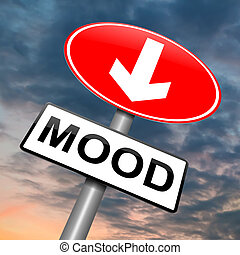 Feeling down. - Illustration depicting a roadsign with a...