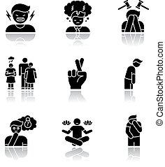 Feeling drop shadow black glyph icons set