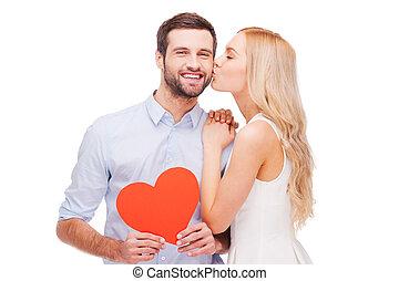 feeling!, grand, autre, beau, tenue, amour, forme, coeur, papier, jeune, liaison, baisers, rouges, elle, chaque, petit ami, femme, quoique, couple, aimer