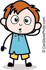 Feeling Guilty - School Boy Cartoon Character Vector Illustration