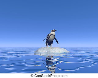Feeling lonely - 3D render - One penguin standing alone on a...